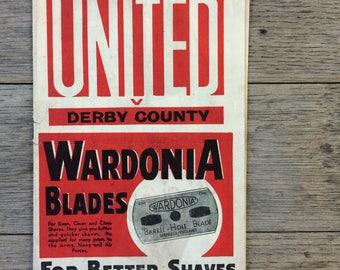 Perfect gift for him - 1946 - Sheffield United v Derby County - Rare football programme - great gift  for him , Father's Day, birthday