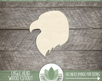 Eagle Head Wood Cutout Shape, Laser Cut Wooden Eagle Head, Unfished Wood Shapes For DIY Projects, Many Size Options Availalbe