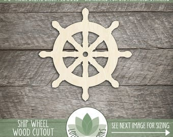 Ship Wheel Laser Cut Wood Shape, DIY Craft Supply, Many Size Options, Wood Ship Wheel