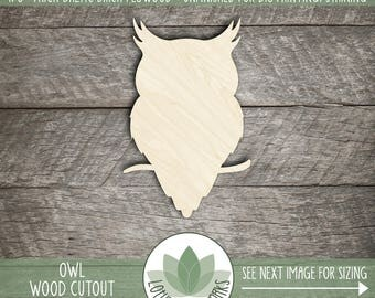 Owl Laser Cut Wood Shape, Unfinished Wood Shapes, Craft Supply, Wood Owl On Branch, Halloween Owl, Many Size Options, Laser Cut Owl