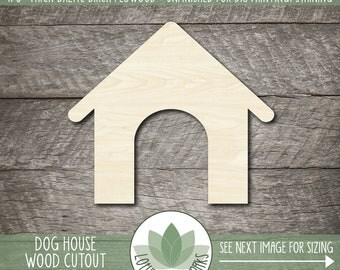 Wood Dog House Shape, Wooden Dog House Cutout, Laser Cut Wood Shapes, Unfinished Wood For DIY Projects, Blank Wood Shapes, Many Sizes