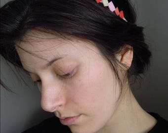 Headband, leather headband ivory pink coral CORRAGRAPHIK.