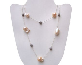 Fabulous Pearl 12x16 mm Drop Silver Gorgeous Long 36 Inches Women Necklace Free Shipping