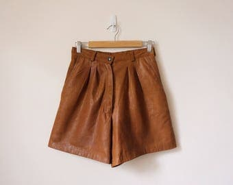 High waisted tan leather shorts
