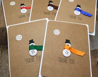 Thank You Snowman Cards, Winter Thank You Cards, Snowman Cards, Thank You Cards, Set of Five Thank You Cards, Set of 5 Thank You Cards