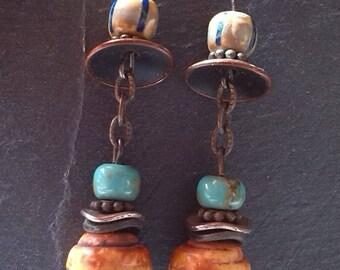 Czech beads and bronze earrings