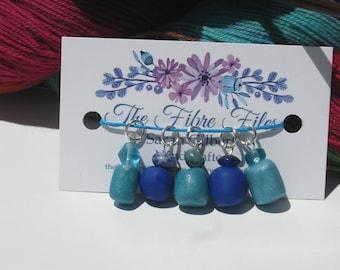Handmade Cobalt Blue & Turquoise Knitting Stitch Markers Set MEDIUM