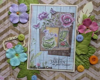 Card Spring Garden small rabbit Ladybug flowers