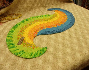 Spiral Table Runner Homemade Washable Cotton Batting Quilted Summer Colors