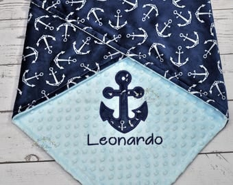 Personalized Baby Minky Blanket -Anchor Minky Baby Blanket-Anchor Blanket-Nautical Minky Blanket-Anchor baby Blanket-Anchor boy baby blanket