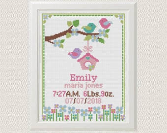 Baby Cross Stitch pattern birth announcement Birthday sampler Bird Flower personalized unique gift birth record new baby girl , baby shower