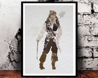 Captain Jack Sparrow (Johnny Depp, Pirates of the Caribbean) A4 watercolour print, 220gsm canvas textured paper *FREE UK P&P*