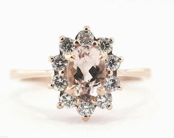 Oval Morganite Diamond Halo Ring
