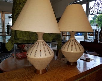 Vintage Ceramic Lamps with Decorative Tile Inlay - Pair