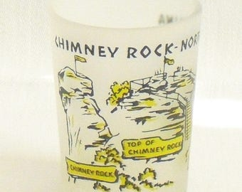 Vintage Chimney Rock North Carolina Travel Souvenir Glass, Anchor Hocking Yellow on Frosted Glass, 1950s Souvenir Barware, Small Cocktail