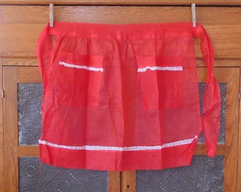 Valentine's Day Red Vintage Organza Half Apron with White Floral Trim on Pockets and Hem, Gathered Waist, Hostess, Mid Century, Sheer Apron