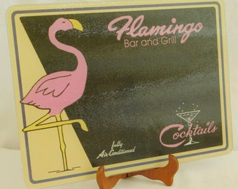 Vintage Flamingo Cutting Board, Pink Black, Novelty, Glass, Cocktail Bar, Grill, Durable, Stain Resistant, Decorative, Dishwasher Safe, Old