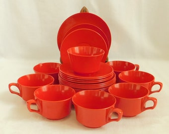 28 Vintage Red Melamine, Cup, Plate, Saucer, Ramekin, Melmac, Plastic Picnic Dish Set, Odds Ends, Camping Dinnerware, Mid Century, Variety