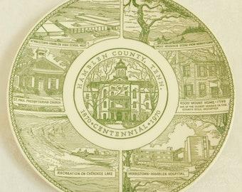 Vintage 100 Anniversary Plate, Hamblen County Tennessee, Morristown, Centennial, Green Transferware, Courthouse, Rocky Mount, Cherokee Lake