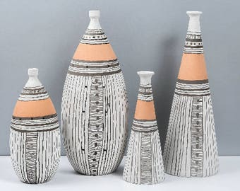 Ceramic vase, black and white vase, unglazed pottery, pottery vase, pottery handmade, white vase, pottery, black and white pottery, vase