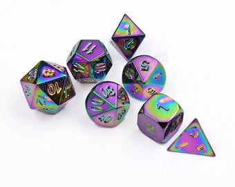 Rainbow~Dungeons and dragons Dice Set-polyhedral dice set-d&d dice-Metal dnd dice-rpg dice set-Gaming Dice-Multi sided Dice Set-set of 7