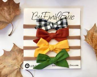 School girl bows fall set of 4
