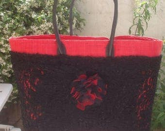 Basket of red and black lace for beach or shopping