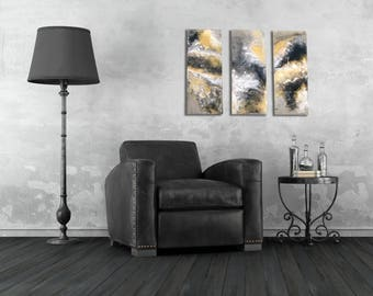Alamosa Storm – 3 panel (triptych) Epoxy Resin Wall Art Set, 9in x 22in (per panel) – Fluid Art
