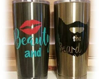 Beauty and the Beard decal - Great for Yetis, Mirrors, Laptops, Tablets, Phones, Cars, Glasses, Weddings Gifts, Toast Glasses And More!