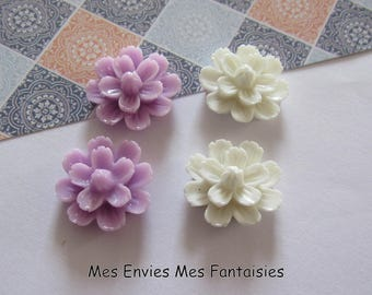 4 cabochons resin flowers 20mm base 18mm approx purple / white R14