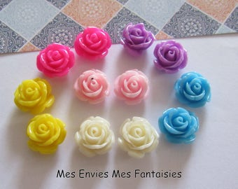 12 cabochons resin flowers 12mm base 8mm approx Mix R20