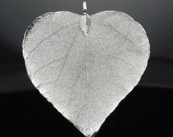 Silver Plated Real Heart-Shaped Bodhi Leaf Necklace Pendant for Jewellery Making