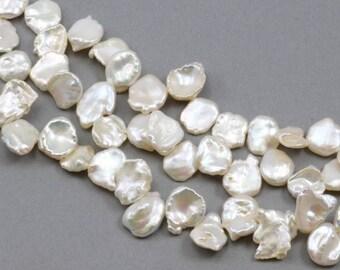 11-13mm Big Ivory Keshi Keishi Petal-like Top-drilled Freshwater Pearls A