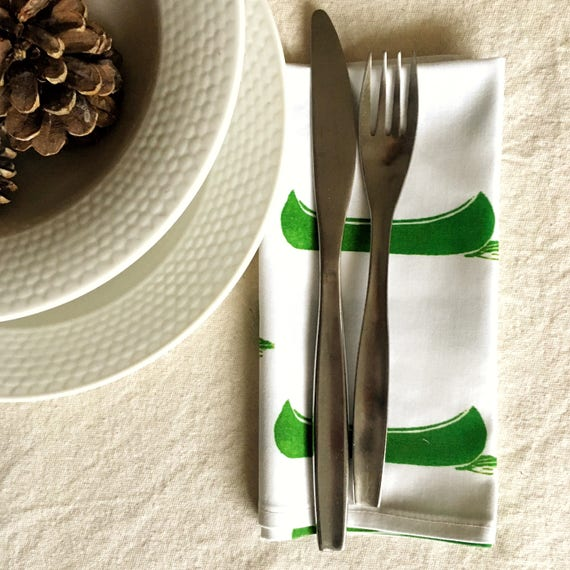 FREE SHIPPING! Organic cotton sateen dinner napkins, set of four, green canoes, christmas gift, green decor, cottage chic, table linens