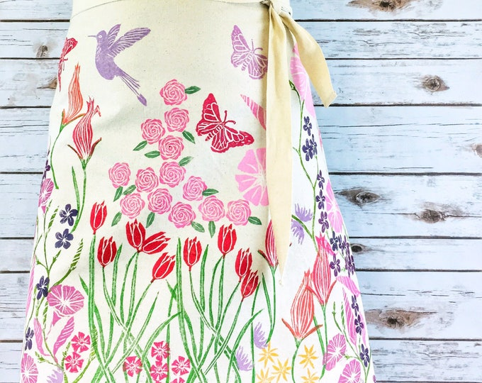 Custom apron for Susan - gift for mom, pink & red flowers on organic canvas