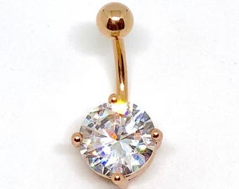 Rose Gold Plated 10mm CZ Belly Bar Navel Body Jewellery 316L Surgical Steel Bar and Ball