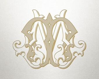 Ornate Monogram Design - MM - Ornate Monogram - Antique