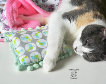 Cat pillow, Jumbo Cat toy, Cusion pad, Cat furniture, Cat bed, Soft flannel mint kitty pillow, Gift for cats, Eco friendly Cat bedding