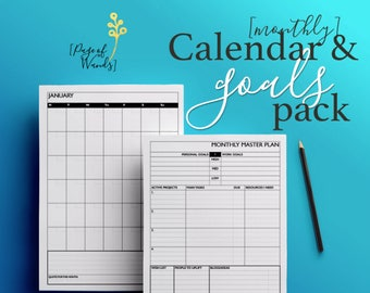 Monthly Master Plan - Motivational Planner - Diary - Bullet Journal - a4 or a5 - Printable Blog Planner Pages 12 months, Full Year - Undated