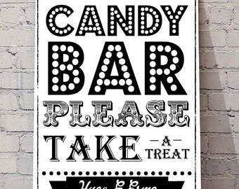 CANDY BAR A4 please take a TREAT Wedding decor, Kraft print, sweet cart signs, personalised prints, wedding plans, sweet table