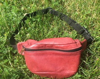 Vintage Leather Fanny Pack Maroon Adult Size