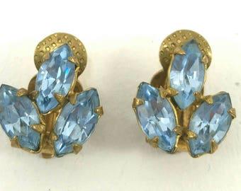 Vintage blue rhinestone clip earrings 80's