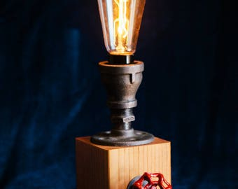 Wood and Pipe Valve Activated Edison Table Lamp
