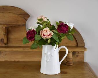 Floral rose arrangement, artificial flowers, floral display, roses, silk flowers, interior decor, birthday gift, floral arrangement, floral