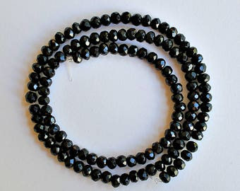 Natural Black Onyx Faceted Rondelle/ Wheel 4.5mm Loose Beads, Natural Gemstone Beads, Semi precious Gemstone Beads, Wholesale Beads