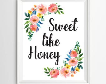 Sweet like honey print Nursery wall art print Wall art Decor illustration nursery decoration quotes art kids wall decor