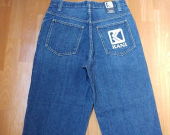 KARL KANI jeans, blue vintage baggy Kani jeans, loose pants, 90s hip-hop clothing, old school 1990s hip hop, OG, gangsta rap, size W 30