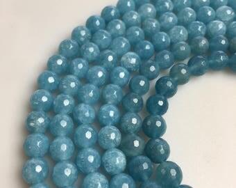 Faceted Blue Sponge Quartz Gemstone Round Beads Size 4-12mm 15.5'' Long per Strand. D-F-ANG-383
