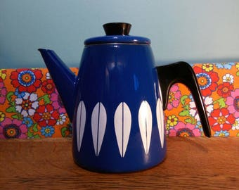 Vintage cathrineholm catherineholm enamel enamelware coffee pot teapot blue