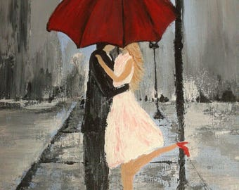 Gift for Her, Red Umbrella Print, Couple in Love, Girlfriend Gift, Couple Under Umbrella, Couple Kissing Print, Wedding Gift, Friend Gift